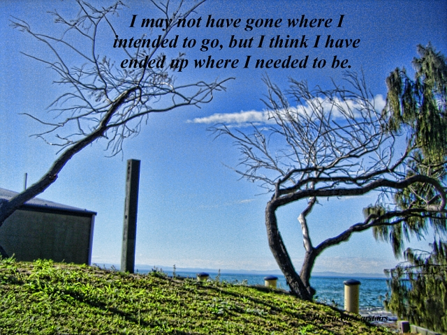 I may not have gone where I intended to go, but I think I have ended up where I needed to be