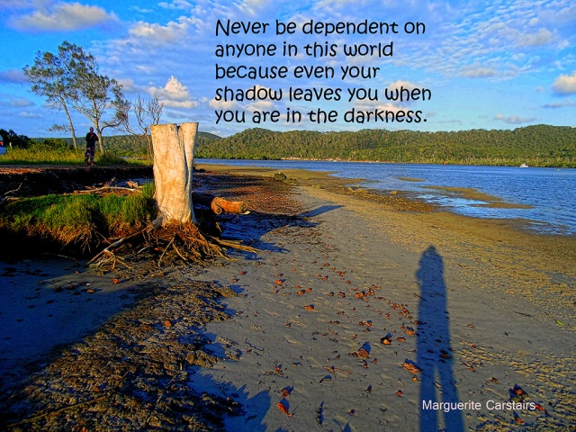 Never be dependent on anyone in this world because even your shadow leaves you when you are in the darkness.