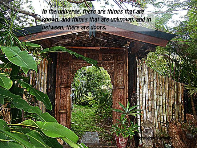 In the universe, there are things that are known, and things that are unknown, and in between, there are doors.