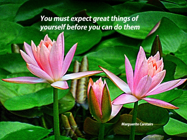 You must expect great things of yourself before you can do them
