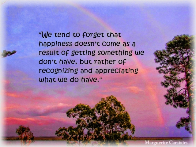 We tend to forget that happiness doesn't come as a result of getting something we don't have2