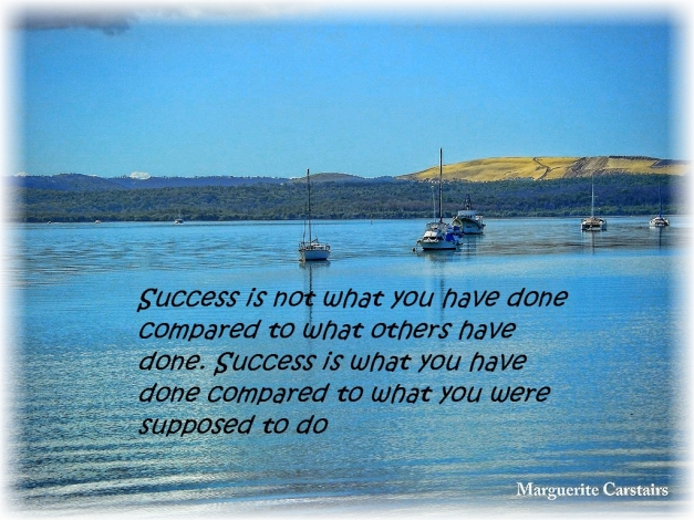 Success is not what you have done compared to what others have done. Success is what you have done compared to what you were supposed to do